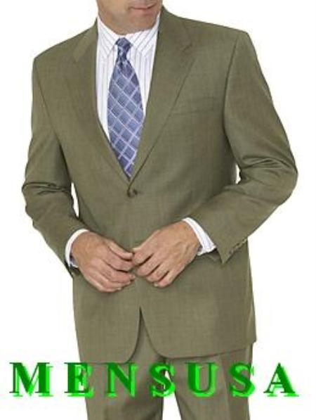 SKU# QSB957 Olive Green ~ Hunter Green 2 Button Mens Dress Business Suits 100% Worsted Vergin Wool $165