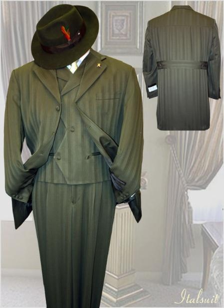 SKU#NK322 Olive Mens Fashion Tone on Tone Pattern Suit 3PC With Vest & Wide Leg Pants $299