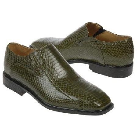 SKU#OV738 Olive Snake Embossed Leather Shoes $139