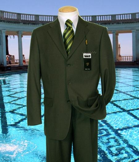 SKU#KF294 Olive Solid Suit Super 150s Hand Made With No Pleated Pants $169