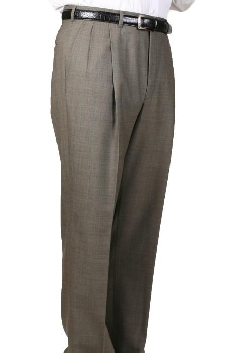 SKU#WM7350 Olive Somerset Double-Pleated Slaks / Dress Pants Trouser Harwick Made In USA America $110