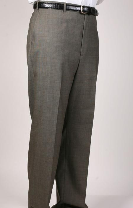 SKU#OW6396 Olive Windowpane Bond Flat Front Trouser $69