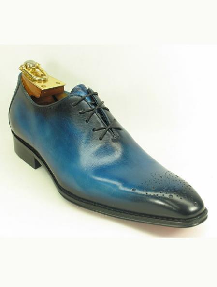 Men's Leather Ombre Lace Up Style Teal Dress Shoe Blue Fashionable Carrucci Shoe - Teal Dress Shoe - Antique blue Shoe