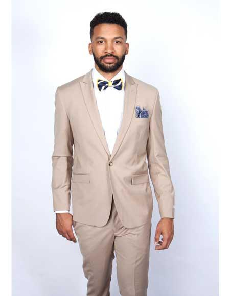 Mens Rossiman Rossi Man Brand Tapered Leg Lower Rise Pants & Get Skinny 1 Button 100% Wool Slim Fit Peak Lapel Beige Suit
