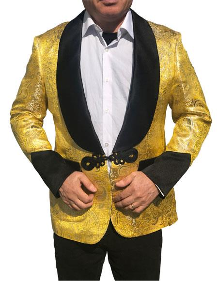 Alberto Nardoni Brand Men's Shawl Collar Fancy Sharkskin Chinese Style Party Blazer in Gold Paisley