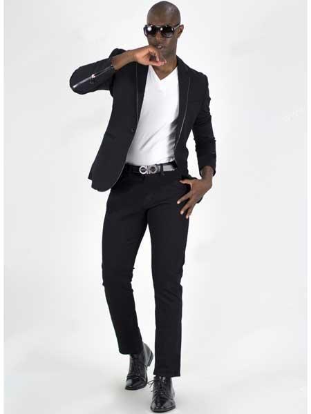 Men's Black 1 Button Notch Lapel Slim Fit Unvented Sport Coat