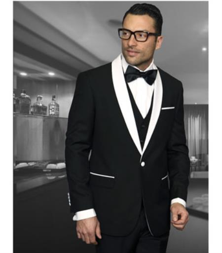 Buy SS-NG3T Mens Black Shawl Collar Dinner Jacket Black Lapel 1 Button Blazer Sport coat