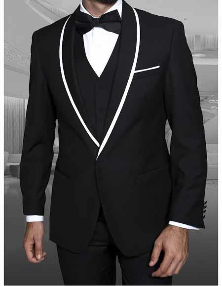 Men's 1 Button Blazer Shawl Lapel With Trim Sport Coat Dinner Jacket With Trim Black