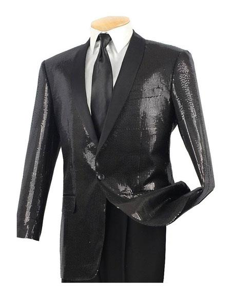 Mens Sequin 1 Button Black Side Vents Classic Fit Dinner Jacket