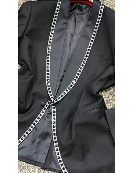 Buy GD1267 Men's Alberto Nardoni Black 1 Button Jewel Lined Shawl Lapel Tuxedo Dinner Jacket