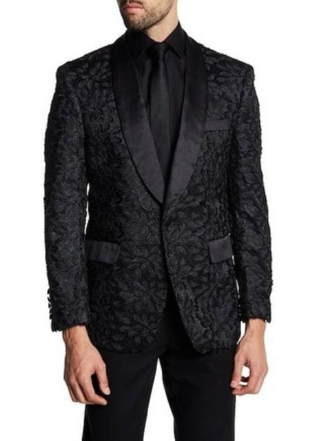Men's 1 Button Slim Fit Satin Shawl Lapel Black Dinner Jacket