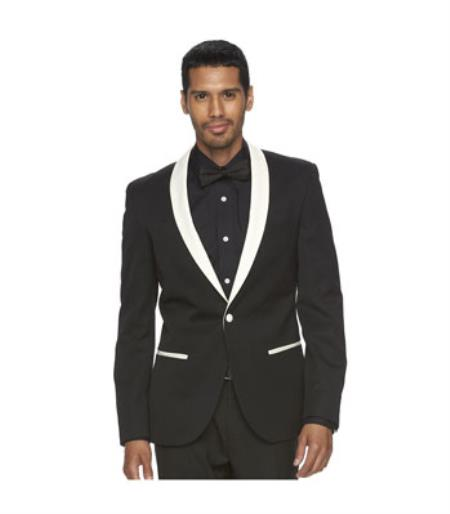 Mens Black and White Lapel Shawl-Collar Tuxedo Suit Dinner  Jacket Looking