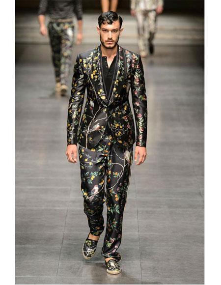 Men's  1 Button Black Fashion Trends Suits