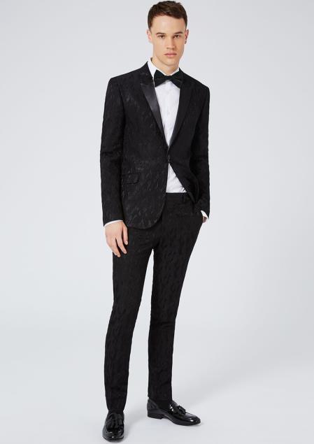 Buy SM4372 Men's Black Ultra Skinny Fit Peak Lapel Single Braested Jacket