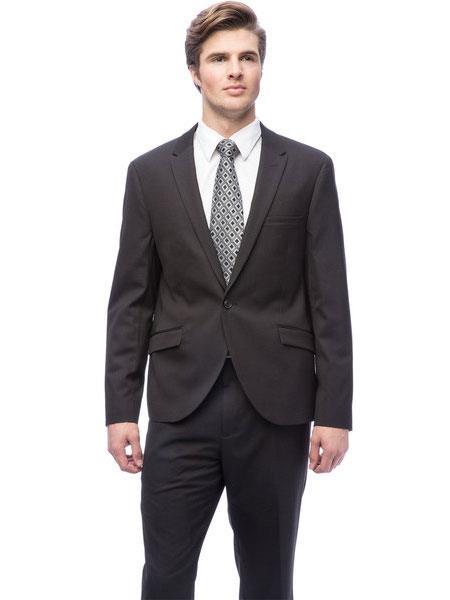 West End Black 2 Piece Mens 1 Button Young Look Solid Peak Lapel Slim Fit Suit