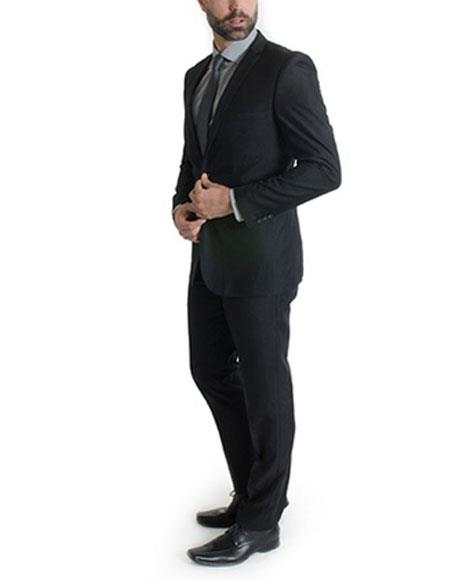 Mens Black Ticket pocket suit 1 button Slim Fitted  Suits