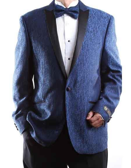 Buy SM2247 Men's One Button Blue Superior 150s Extra Fine Satin Peak Lapel Tuxedo