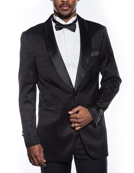 Mens black tuxedo jacket fancy designed pattern prom wedding blazer