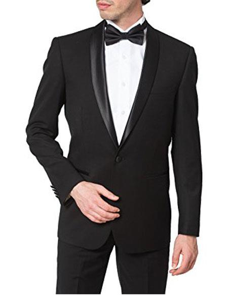 Giorgio Fiorelli Mens Regular Fit One Button Shawl Collar Formal Black Tuxedo Suit