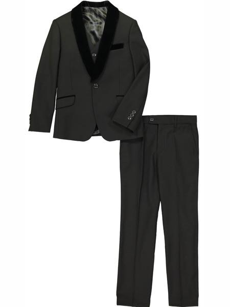 3 Pc Velvet Collar Shawl Lapel Kids Sizes Black Tuxedo Suit Perfect for toddler wedding  attire outfits