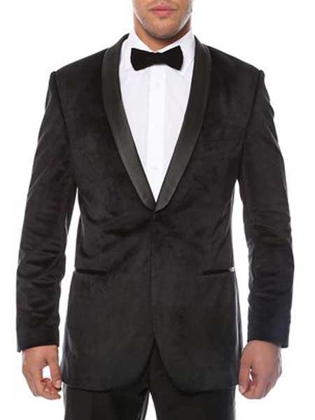 Buy SM1366 Mens 1 Button Shawl Lapel Black Velvet Velour Sheen Two Toned Black Lapel Side Vented Black