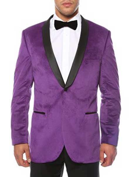 Purple Mens 1 Button Shawl Lapel Black Velvet Sheen Two Toned With Black Lapel Side Vented Slim Fit