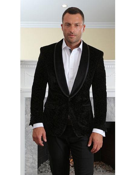 Men's black velvet tuxedo Modern Fit suit jacket