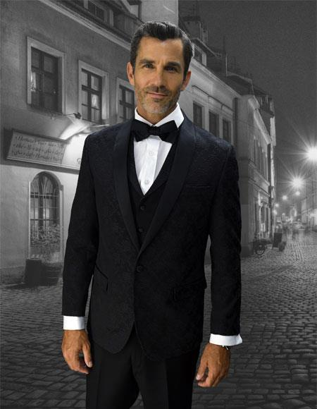 Mens black Single Breasted 1 Button Vested tuxedo Suit