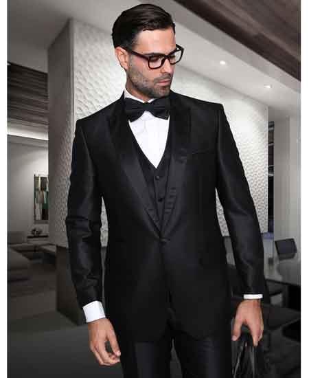 Buy Millano Mens Sharkskin 1 Button Peak Lapel Tuxedo Vested Black Suit Sheen Wool Suit