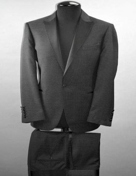 Buy SM2695 Tiglio Luxe Santo Men's Satin Peak Lapel 1 Button Black Italian Wool Slim Fit Suit