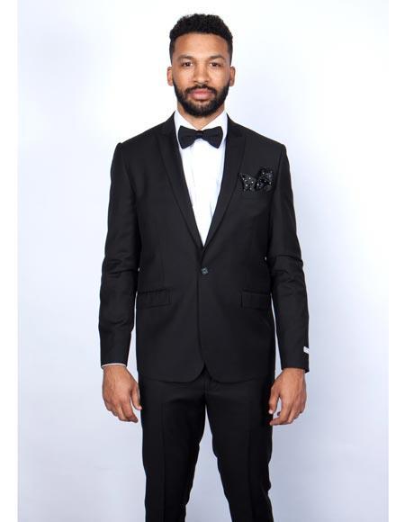Mens Rossiman Rossi Man Brand Tapered Leg Lower Rise Pants & Get Skinny 100% Wool 1 Button Slim Fit Peak Lapel Suit Black