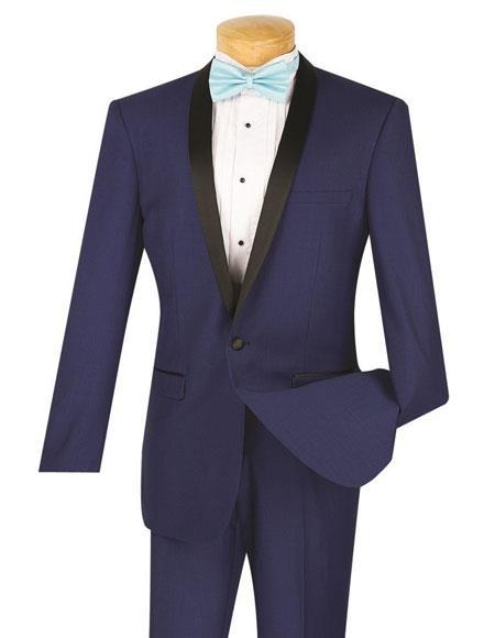 Men's One Button  Slim Fit Tuxedo Blue Tux T-SS