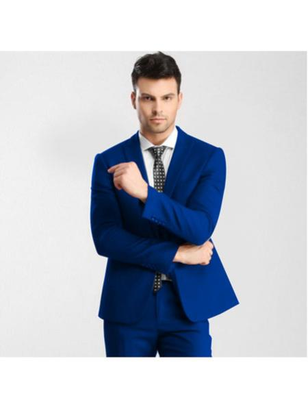 Mens Royal Blue Button Single Breasted Peak Lapel Slim Fit Dress Suits for Men with Flat Front Pant