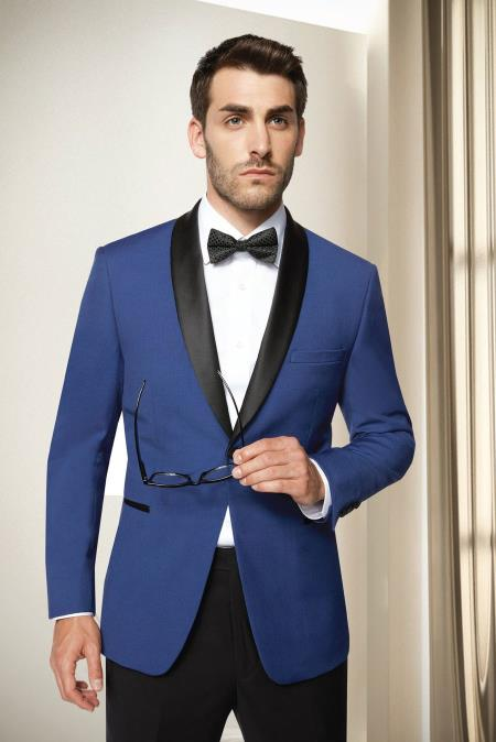 Mens Shawl Lapel One Button  Blue Modern Fit Tuxedo