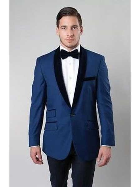 Mens Deep Blue 1 Button Satin Shawl Collar Two Tone Velvet Slim Fit Blazer