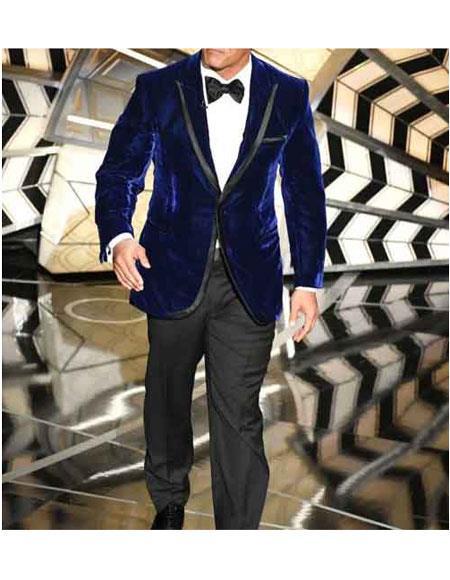Mens Dwayne Johnson Blue Velvet Single Breasted 1 Button Peak Lapel Suit