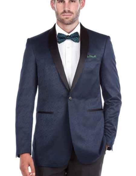 Renoi Men's Shawl Collar 1 Button Blue Textured Tuxedo Slim Fit Double Vent Blazer