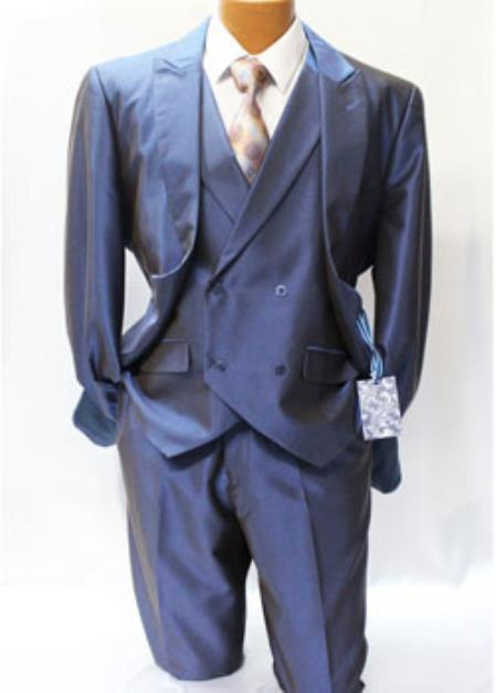 Mens Blue Shark Skin Vested Suit