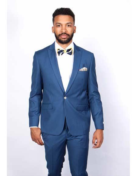 Mens Rossiman Rossi Man Brand Tapered Leg Lower Rise Pants & Get Skinny 1 Button Slim Fit Peak Lapel Suit 100% Wool Blue