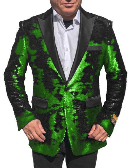 Coming 2020 Fashion  Shiny Sequin Bright Green Tuxedo Black Lapel Paisley Look Sport Jacket ~ Coat Blazer Advanced Pre Order To Ship November / 15 / 2019