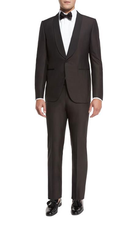 Men's Brown Grosgrain Shawl Collar Double Vent Tuxedo Suit Super 150's Wool Jacket + Pants Vest