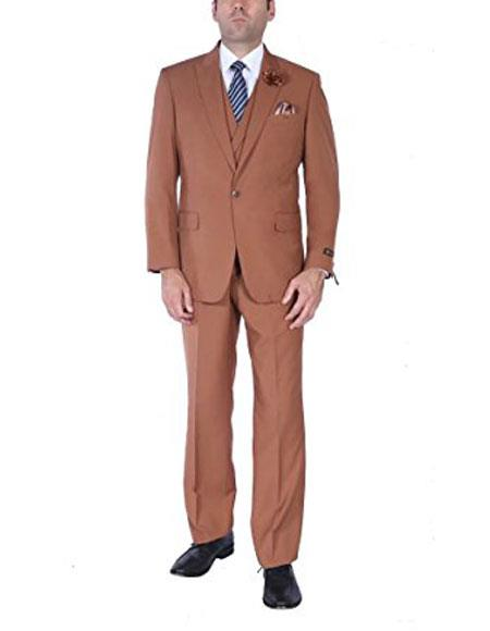 Mens Stylish 1 button suits double breasted vest peak lapel Brown suits pleated pants