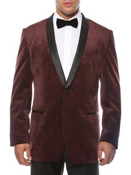 Men's 1 Button Burgundy ~ Wine ~ Maroon Blazer - Sport Coat Shawl Lapel Black Velvet  Sheen Two Toned With Black Lapel Side Vented Men's blazer Burgundy Blazer - Sport Coat