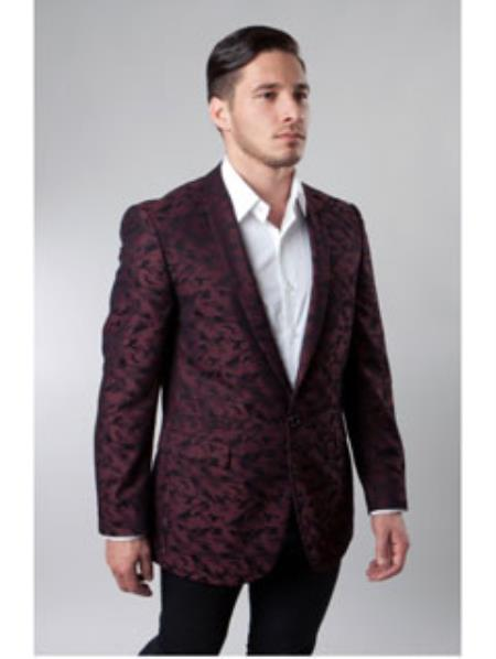 1 Button Burgundy ~ Wine ~ Maroon Color Cheap Priced Designer Fashion Dress Casual Blazer On Sale Notch Lapel Pattern Jacket Side Vents Slim Fit Camouflage blazer