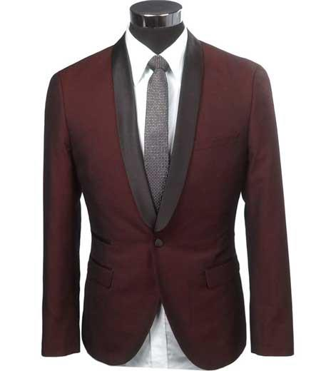 Cheap Priced Blazer Jacket For Men Online Slim Fit 1 Button Burgundy ~ Wine ~ Maroon Color Two Toned Black Lapel Satin Shawl Collar Dinner Jacket Looking!