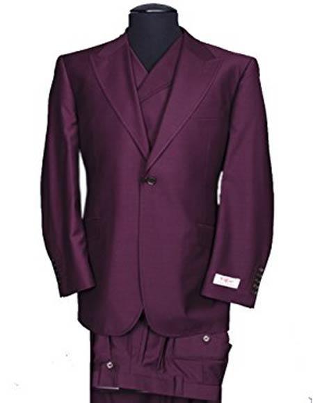 Buy SM2470 Tiglio Rosso Men's Peak Lapel Italian Wide Leg Burgundy Wool 1 Button Vested Suit
