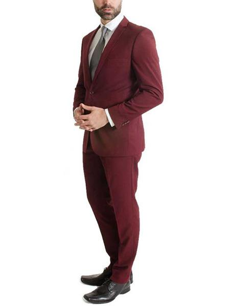 L & S France Mens 2 Piece Slim Fit One Button Notch Lapel Burgundy ~ Wine ~ Maroon Color Suit