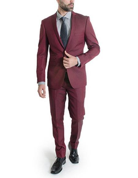 Mens  Suit 1 Button Slim Fit Suits Burgundy ~ Wine ~ Maroon Color