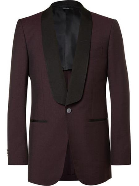 SKU#JS302 Mens Slim Fit Burgundy ~ Wine ~ Maroon Color ~ Maroon Tuxedo