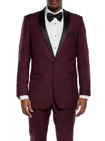 SKU#JS305 Mens Slim Fit Burgundy ~ Wine ~ Maroon Color ~ Maroon Tuxedo